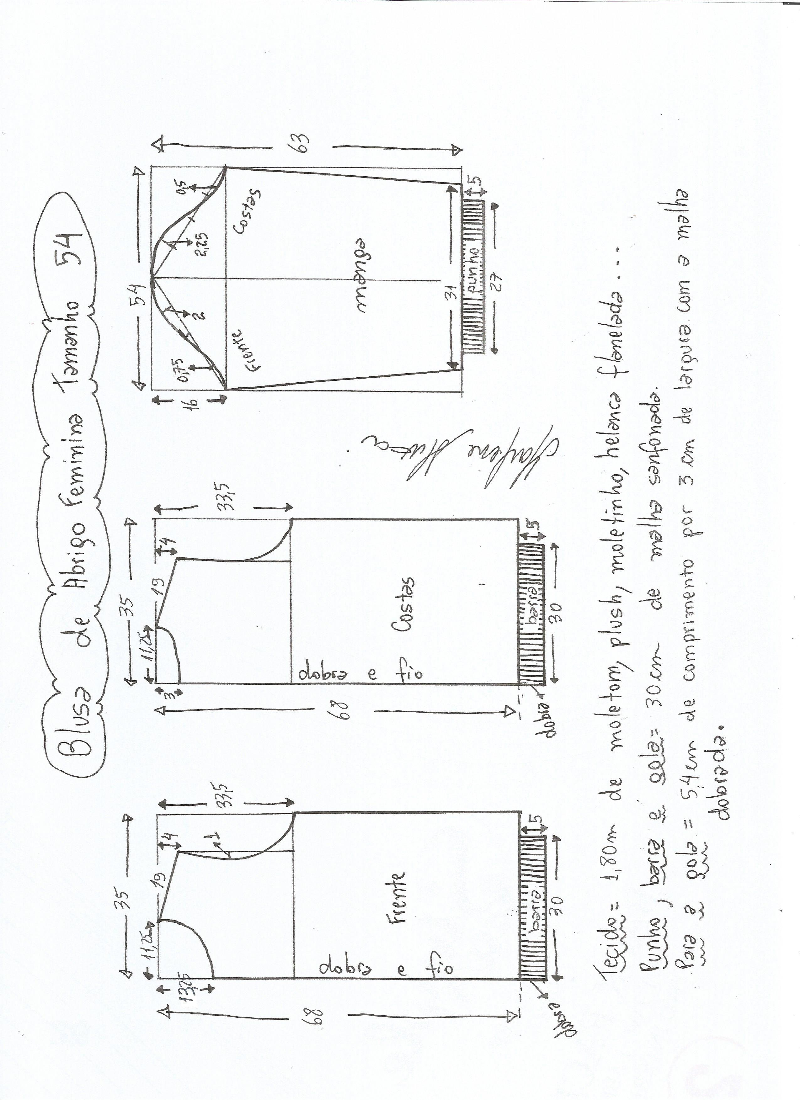 Esquema de modelagem de blusa  de moletom tamanho 54.