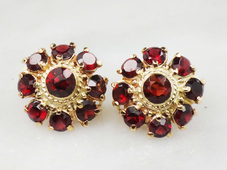 Vintage 14k Garnet Earrings