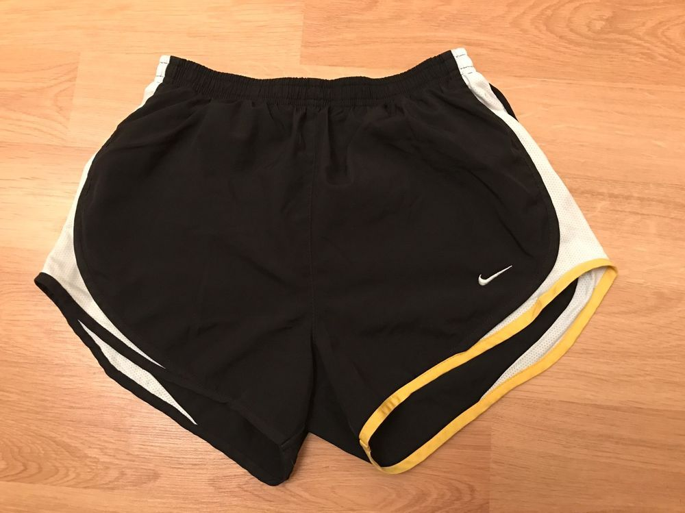 25296a0bb0a Nike FIT-DRY Girls Youth Running Tempo Black/White/Yellow Shorts ...