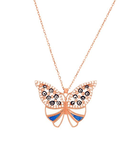 White Zircon & Blue Butterfly Pendant Necklace