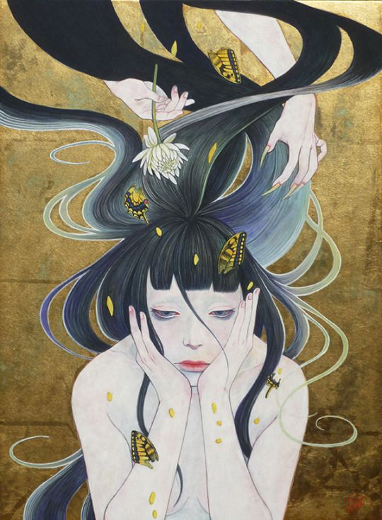 """'Hades (黄泉)' [Natural mineral pigments and gold leaf on Japanese paper] by ON THE RISE artist Akiko Ijichi features exclusively in the digital edition of Beautiful Bizarre Magazine . Discover the best new contemporary art and photography inside 017 today! . SHOP @ beautifulbizarre.net/shop/issue-017 . Or download the FREE """"beautiful bizarre"""" APP via iTunes store or Google Play and grab issue 017 for just US$4.99, or pick up a 1 year subscription and save 15% on the cover price!  #painting…"""