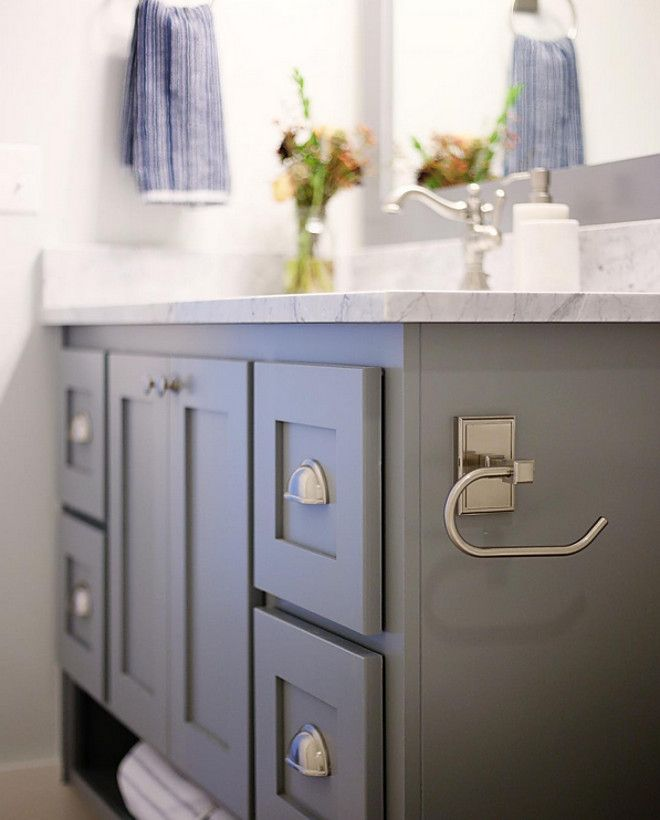 Vanity Paint Color Benjamin Moore Hc 168 Chelsea Gray Cbc Builds Via Instagram P Painting Bathroom Cabinets Painting Bathroom Bathroom Remodel Ideas Grey