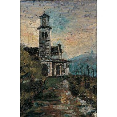 Calderara AntonioLa chiesa di Vacciago1915 olio su carbone, 18 x 12 c