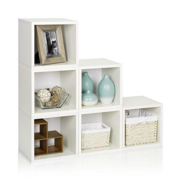 Good Way Basics 6 Stackable Storage Cubes   Modular Storage Shelf   White :  Target