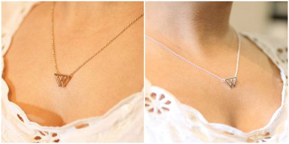 """Dainty Double Triangle Pendant Necklace on Choice of 16"""" or 18"""" chain with lobster clasp in 18k Gold Plated or Silver Plated Finish"""