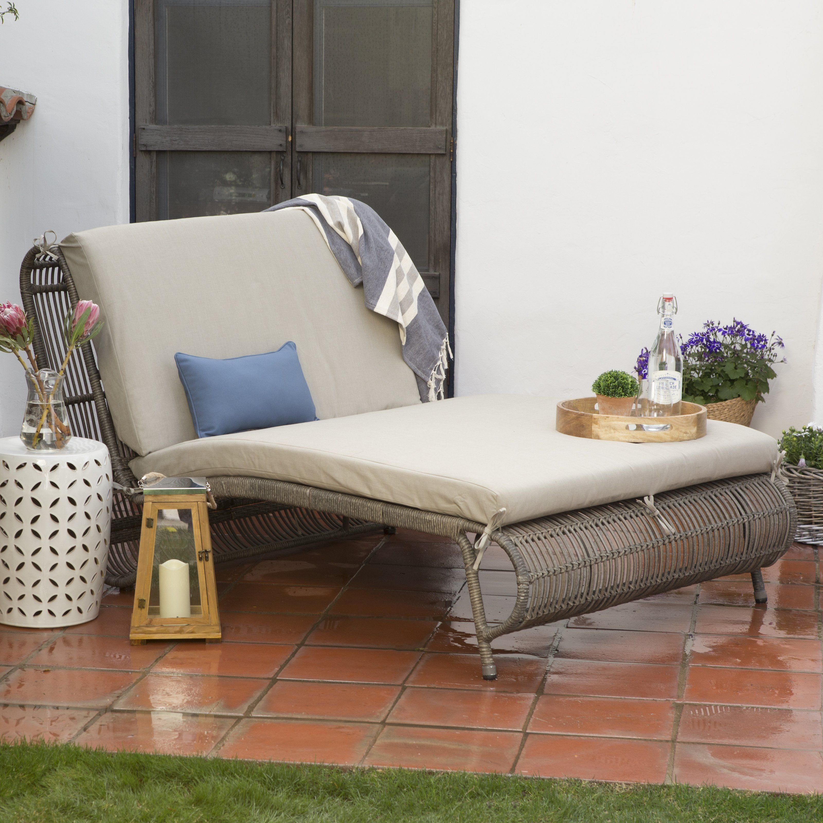 Outdoor Belham Living Batiki Sun Bed Double Chaise Lounge