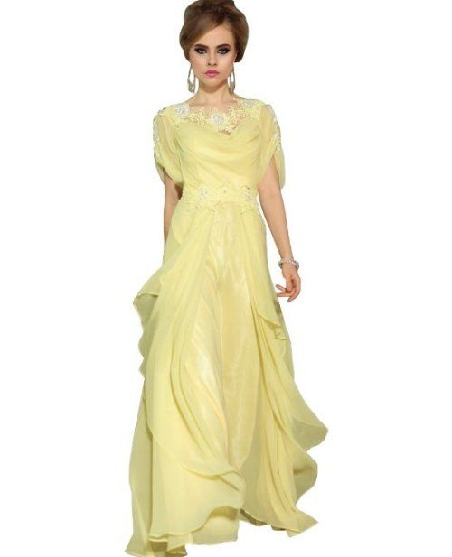 f2dbe53fa02d5 Gorgeous yellow summer evening gown 2014 perfect for mother of the bride or  groom with beaded lace details around neckline and waist