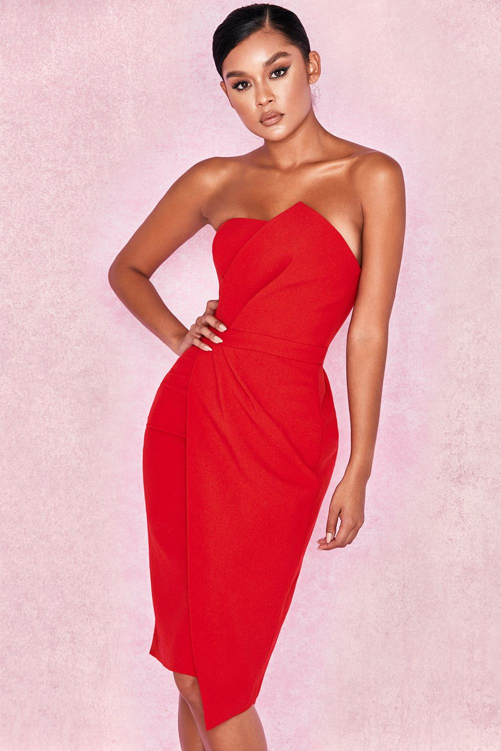 b860a0aede4 Clothing   Structured Dresses    Uma  Red Fold Front Mini Dress ...
