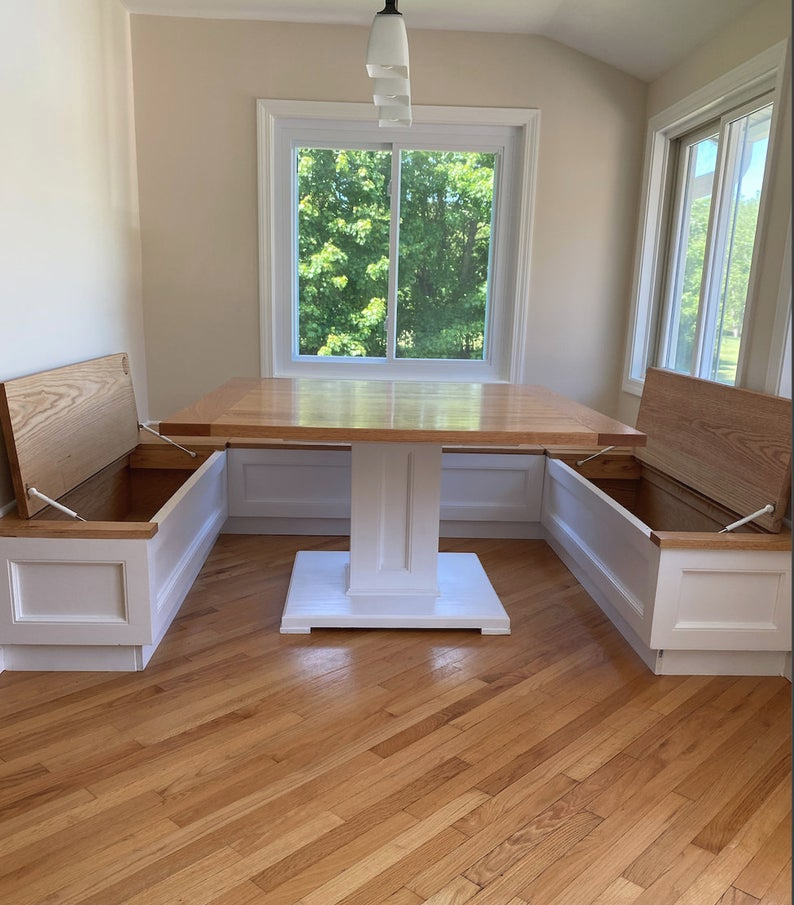 Breakfast Nook Banquette Seating with Farmhouse Style Bench   Etsy