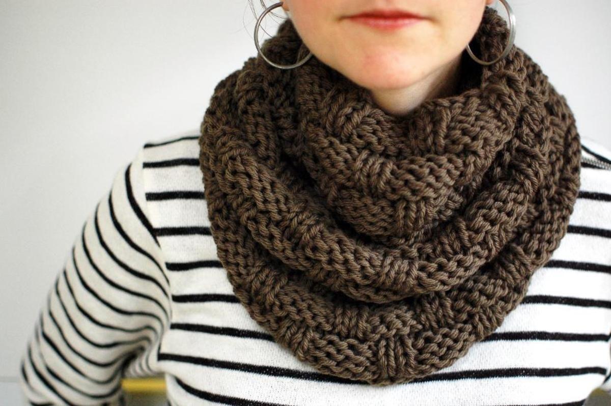 Chunky Basket Weave Infinity Scarf | Infinity scarf ...