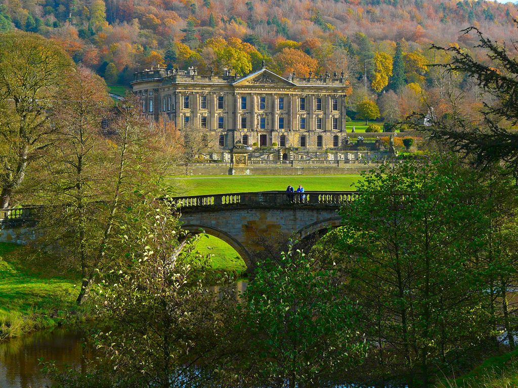 "Chatsworth House, Derbyshire, England. Sir Wm Cavendish and his wife, Bess of Hardwick began to build the house in 1553 and finished in the 1560's. In 1608 Bess died and Chatsworth was passed to her 2nd son, Wm Cavendish, 1st Earl of Devonshire. The 12th Duke and Duchess now pay rent to the ""Chatsworth House Trust"" for the use of its private apartments in the house."