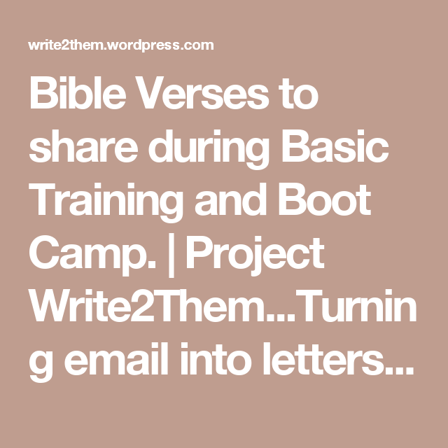 Bible Verses to share during Basic Training and Boot Camp. | Boot ...