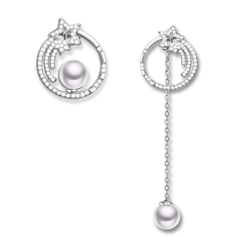 925 Sterling Silver With Pearl Meteor Series Ear Stud for Women