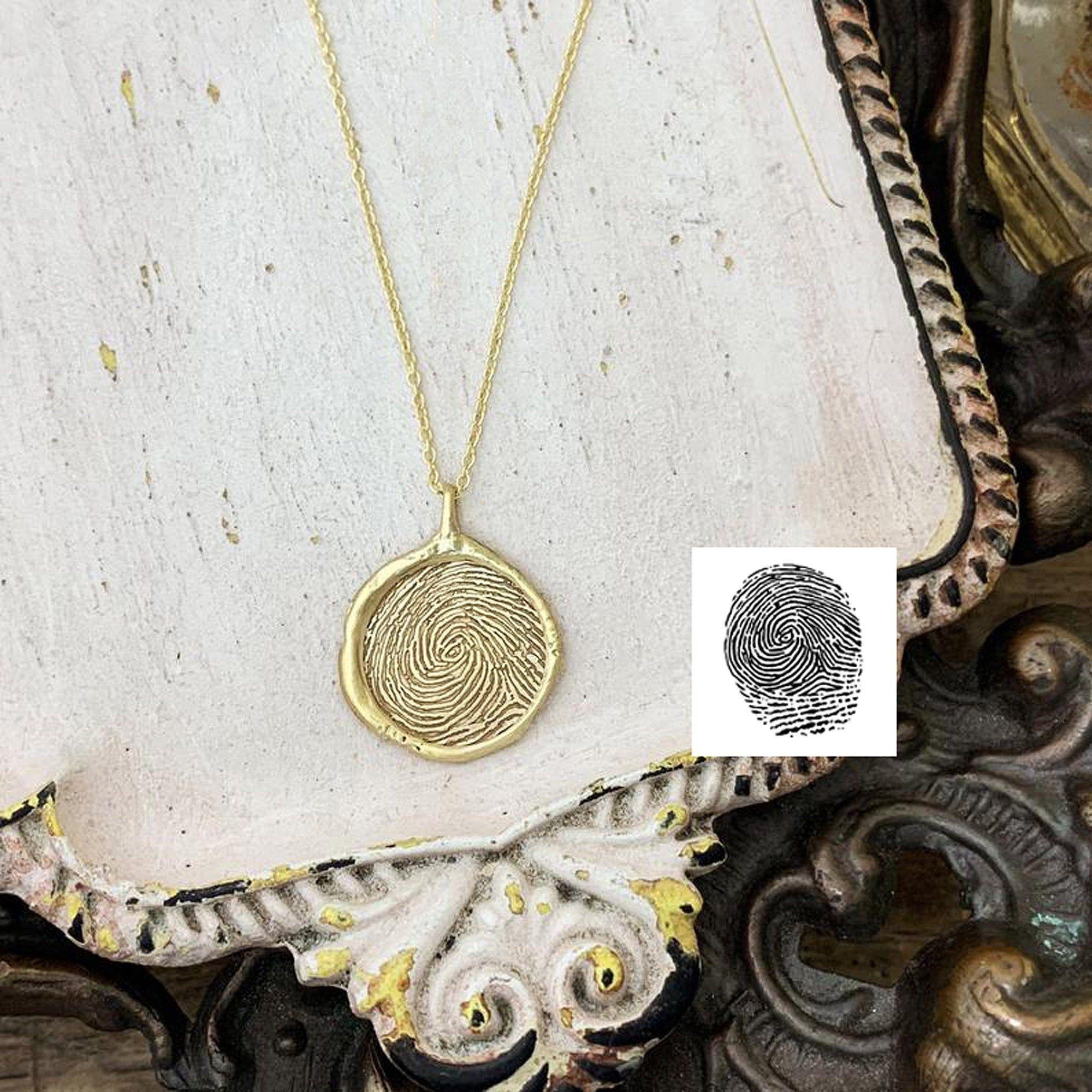 14k Gold Fingerprint Necklace 16mm Finger Jewelry Custom Etsy Fingerprint Necklace Fingerprint Jewelry Thumbprint Jewelry