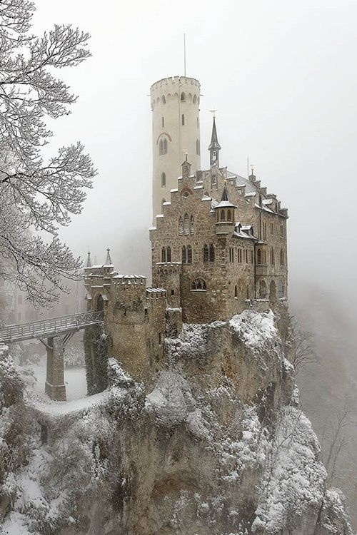 Lichenstein Castle in the Snow. Gothic revival, 1840's ...