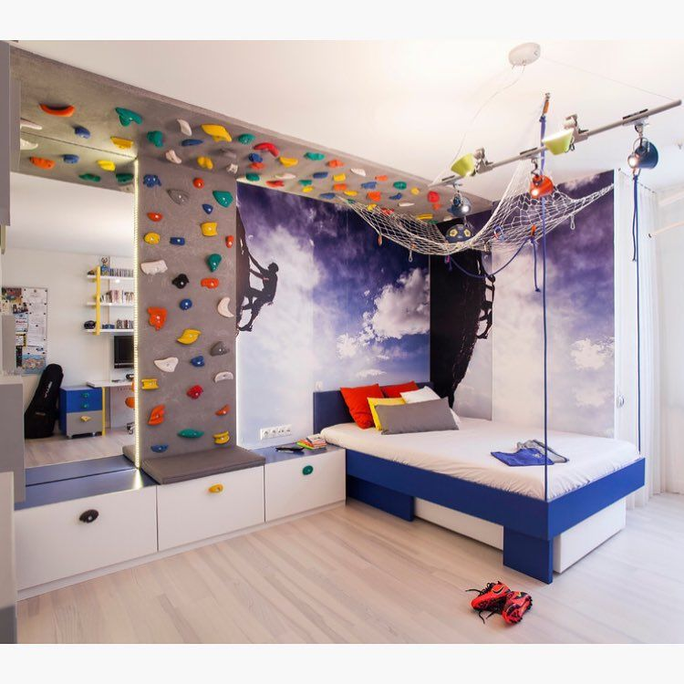 Wonderful Rock Climbing Wall Bedroom | Neslihan Pekcan/Pebbledesign