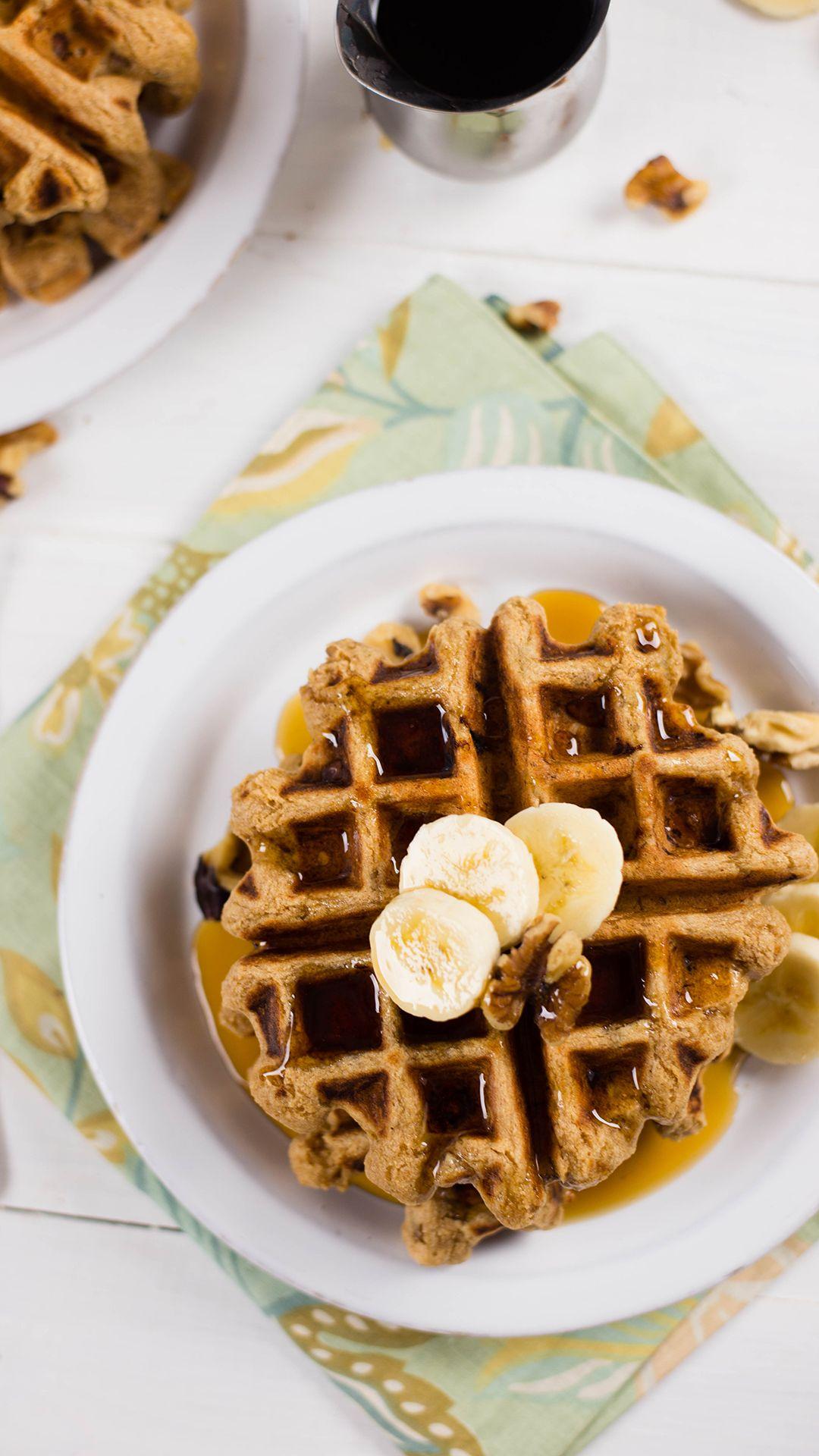 Banana Walnut Waffles Video Recipe Video Healthy Waffles Banana Waffle Recipe Waffle Recipes
