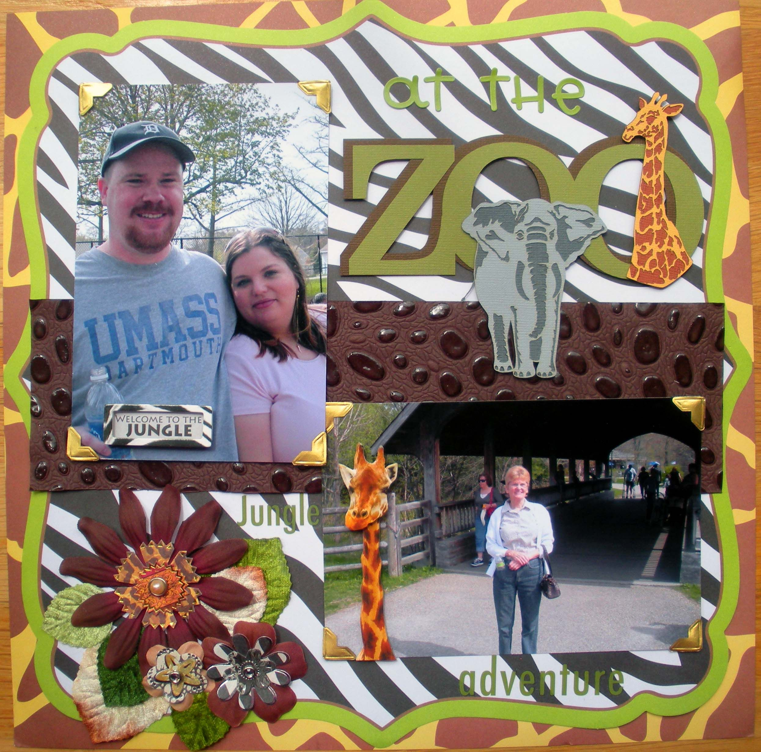 Zoo animal scrapbook ideas - At The Zoo Scrapbook Idea Like The Background