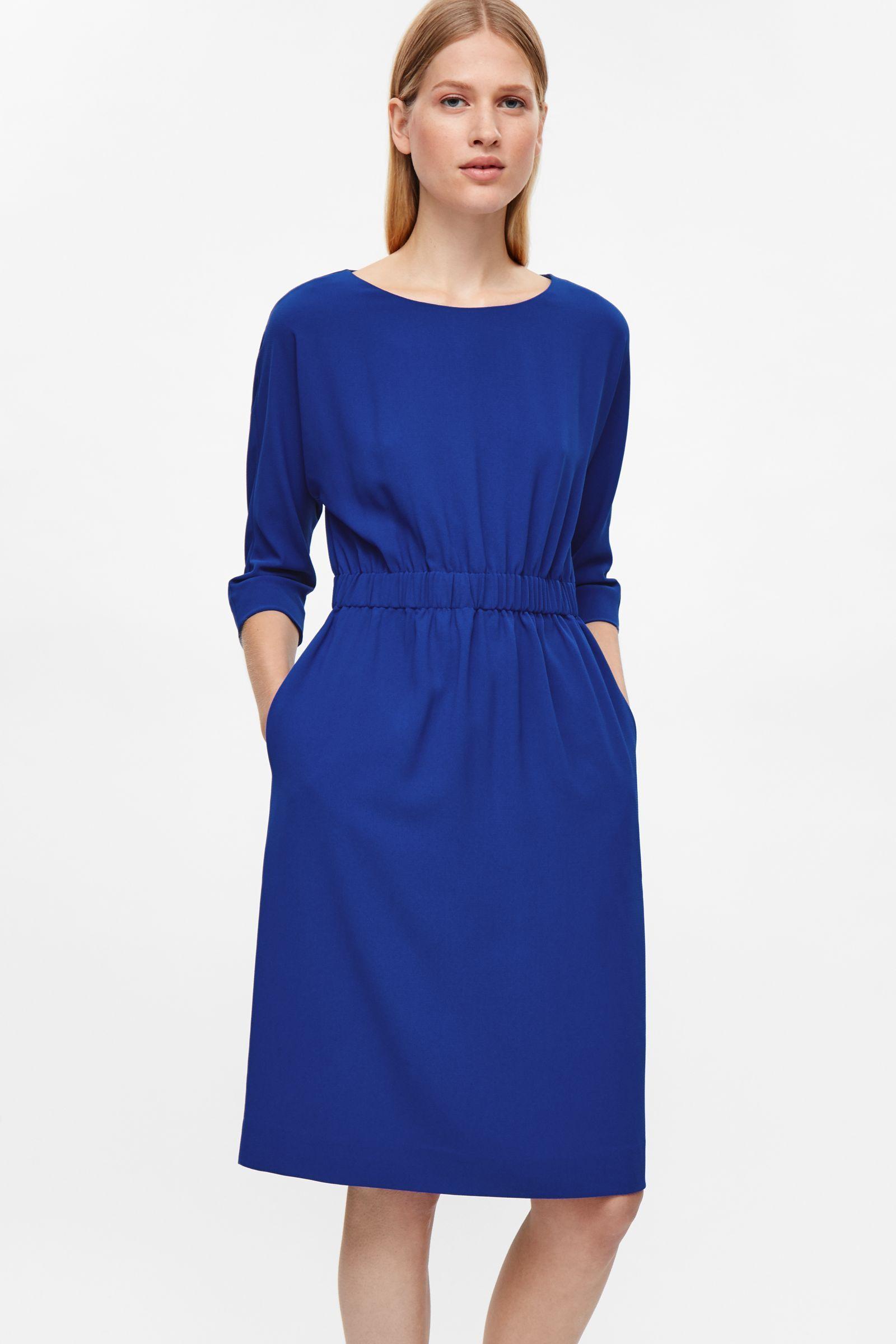 ZARA MIDIKLEID XS 34 Gestreift Kate Middleton Midi Dress Blau Weiss