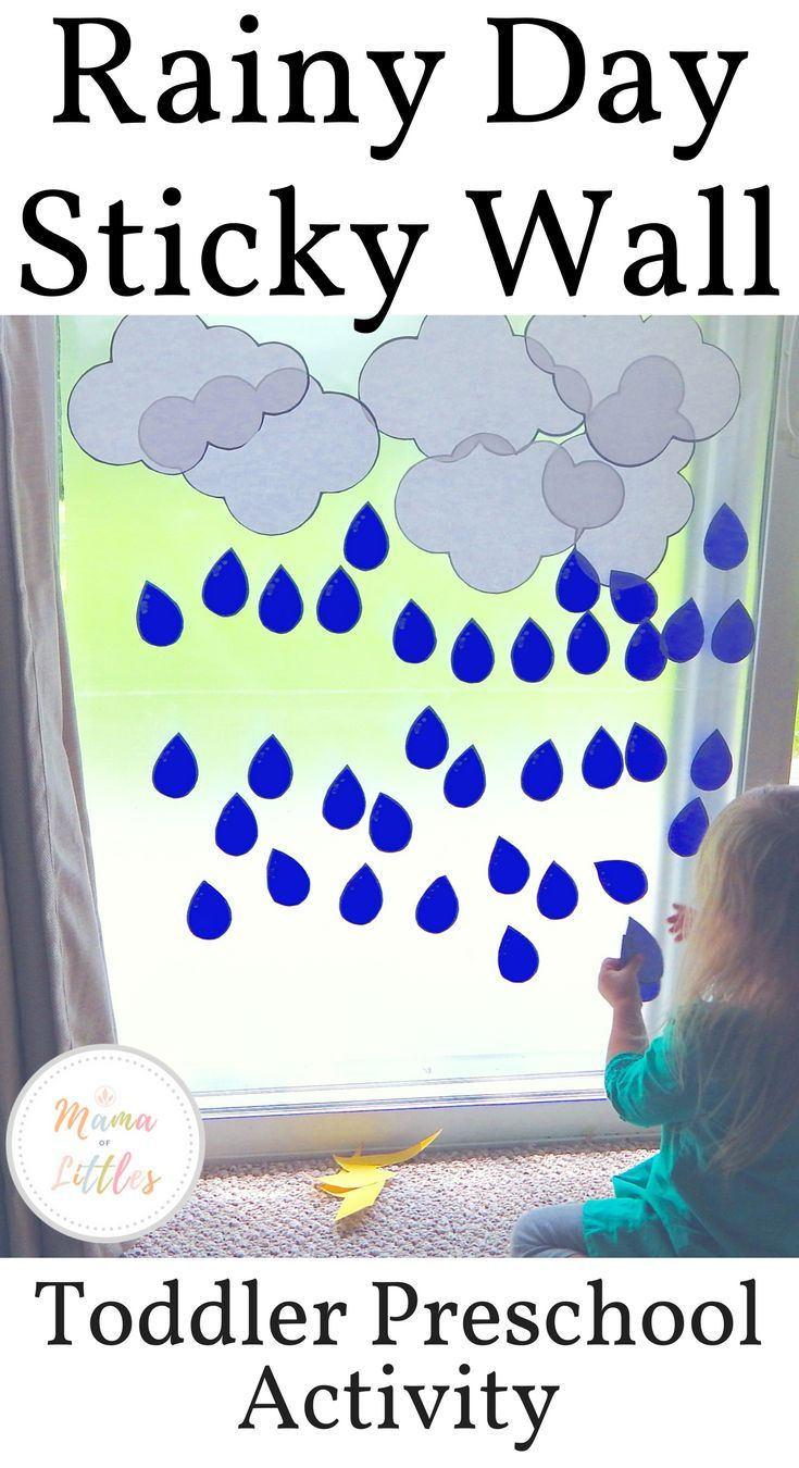 Rain Storm Sticky Wall Activity For Toddlers - Mama of ...