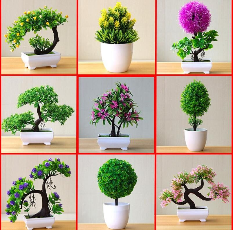 New Artificial Plants Bonsai Small Tree Pot Plants Fake Flowers Potted Ornaments For Home Decoration Hotel Garden De In 2020 Small Flower Pots Flower Pots Fake Flowers