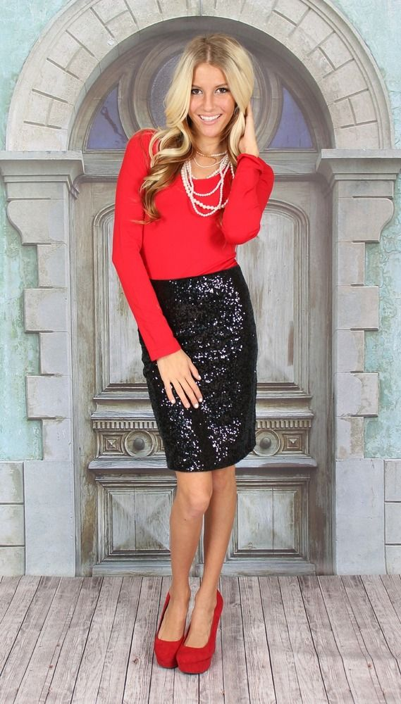 33cafe1864 Black Skirt Outfits, Pencil Skirt Outfits, Black Sequin Skirt, Sequin Skirt  Outfit,
