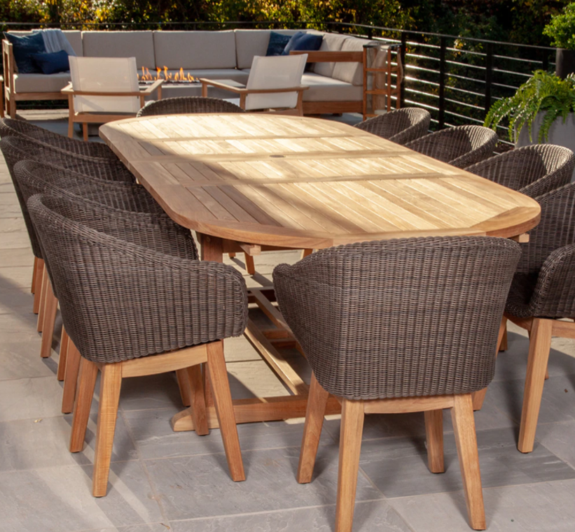 Povl Outdoor Boden 118 Oval Extending Table Luxury Patio Furniture Outdoor Furniture Teak Dining Table
