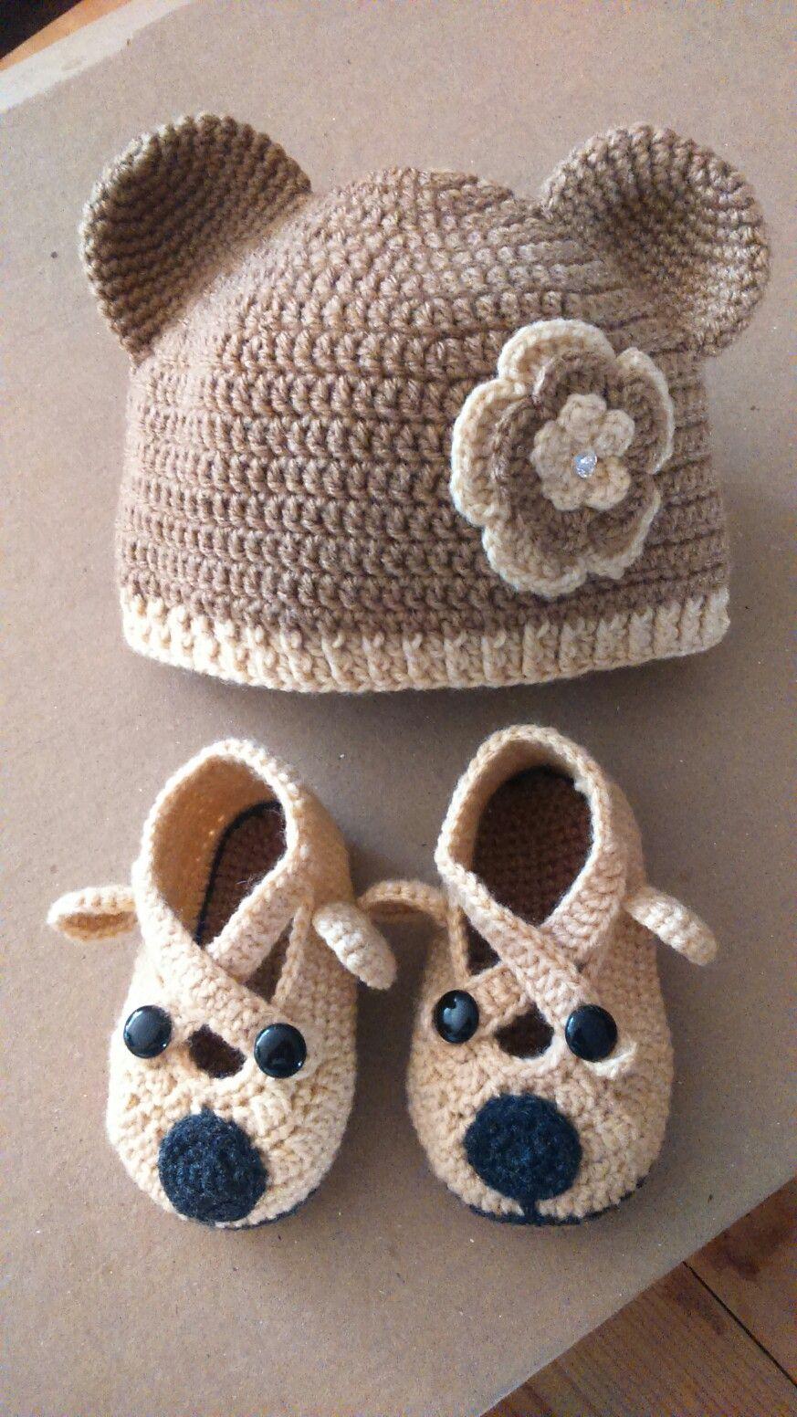 Gorro, zapatos de oso Crochet | trabajos | Pinterest | Osos, Zapatos ...