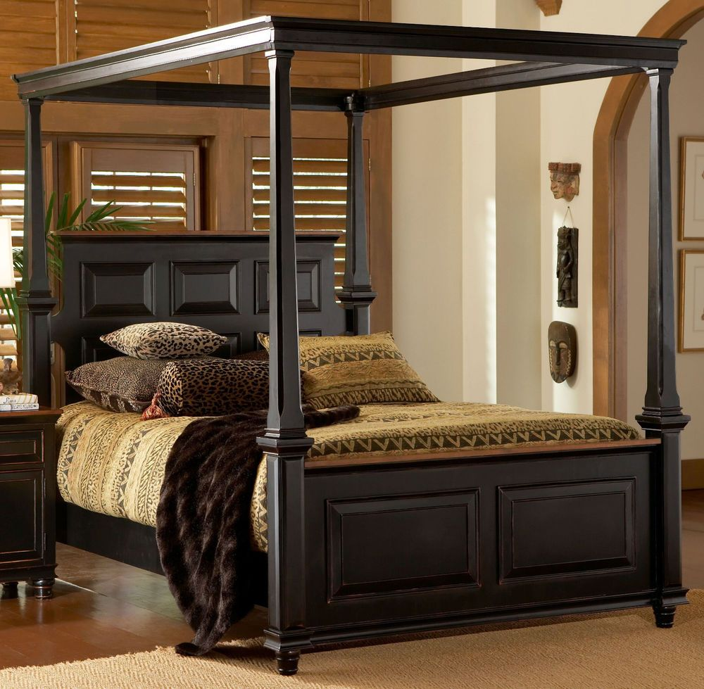 Galleria Furniture Oklahoma City: Madison Panel Canopy Bed Black Finish Queen King Size