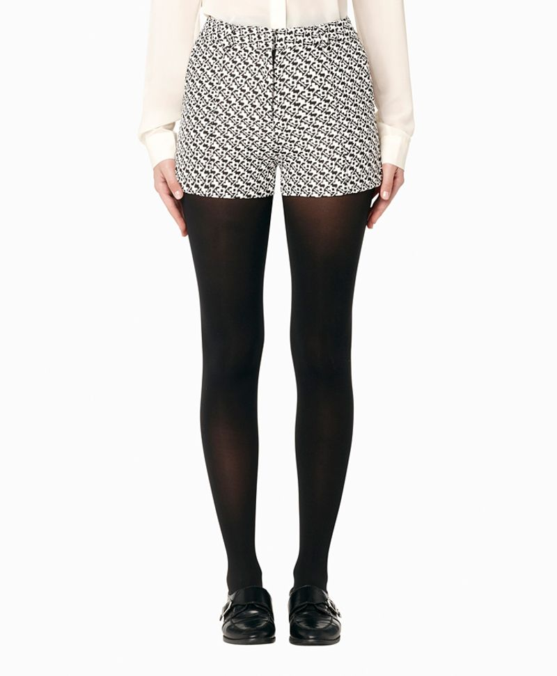 dressy shorts over tights, a neat look