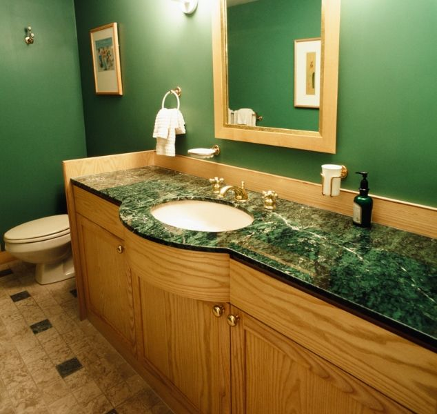 Green Marble Countertop With Ash Vanity Suburban Boston