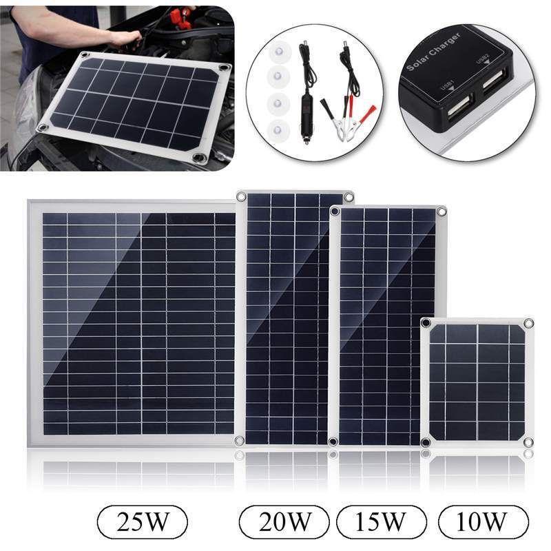 Panel Solar De Silicona De Doble Interfaz Usb 10 15 20 25 W 12 V 5 V Dinamico Ebay Solar Charger Solar Panels Flexible Solar Panels