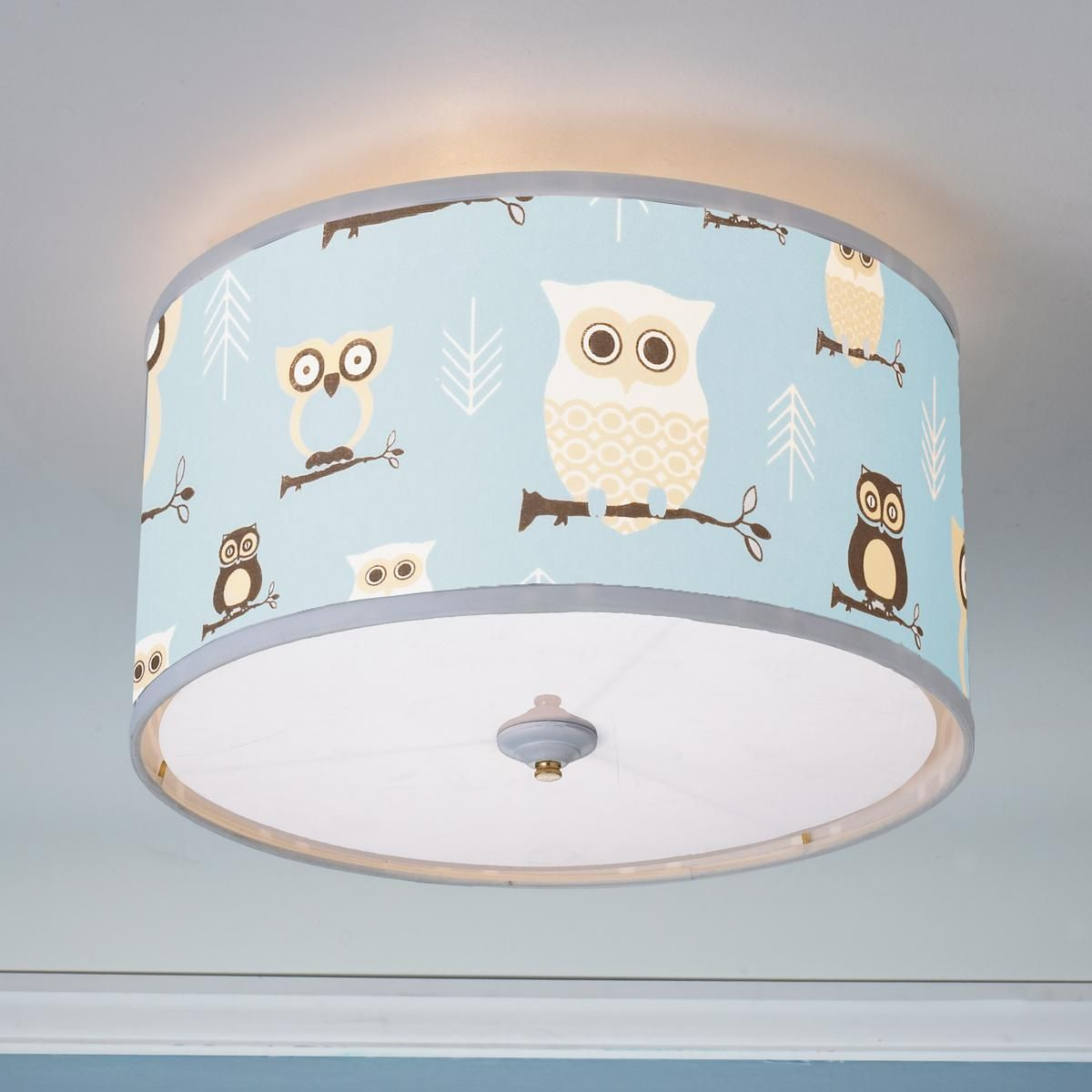 Owls Drum Shade Ceiling Light This owl drum shade ceiling light will make a  fun addition