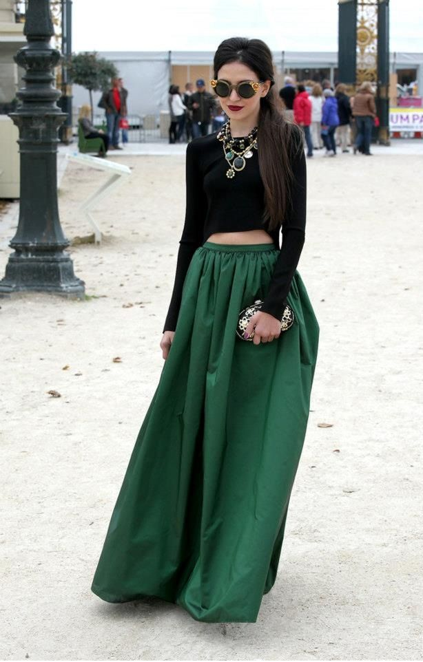 Long skirt | fashion | Pinterest | Green skirts, Skirt fashion and ...