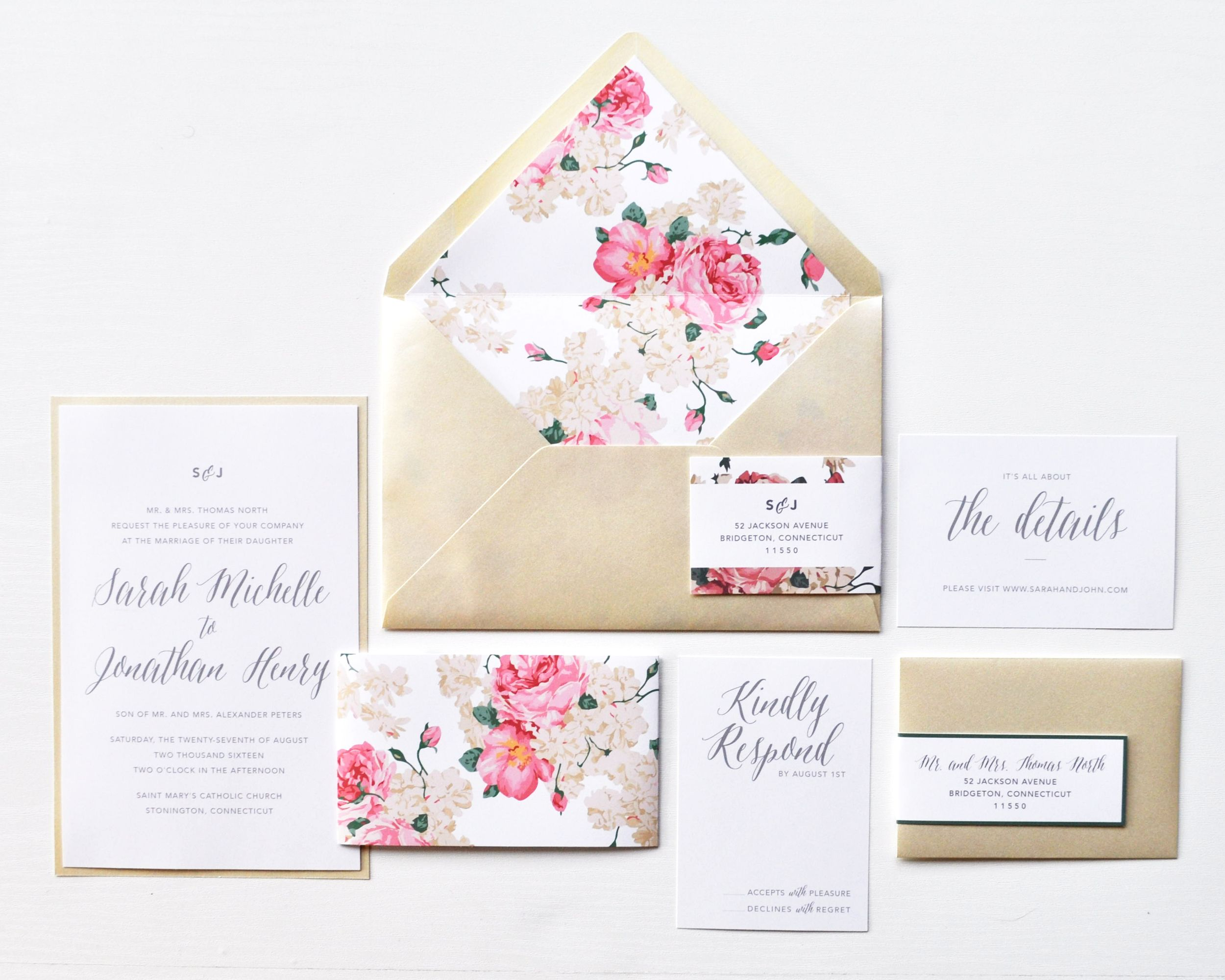 Floral Belly Band InvitationFloral Belly Band Wedding