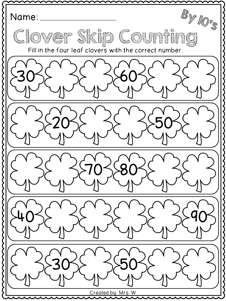 free st patrick 39 s day literacy and math printables kindergarten clover skip counting. Black Bedroom Furniture Sets. Home Design Ideas