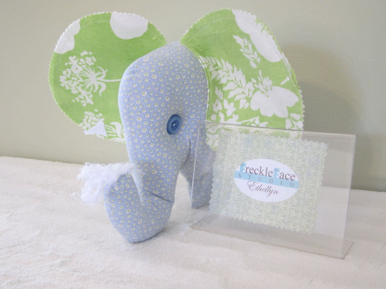Ethellyn the Elephant, Stuffed Animal, Stuffie, Pillow, Room Decor, One-of-a-kind, Handmade. $25.00, via Etsy.