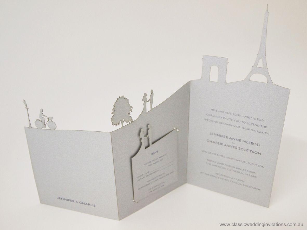 Paris Landscape Delicate Wedding Invitations Cards Places France