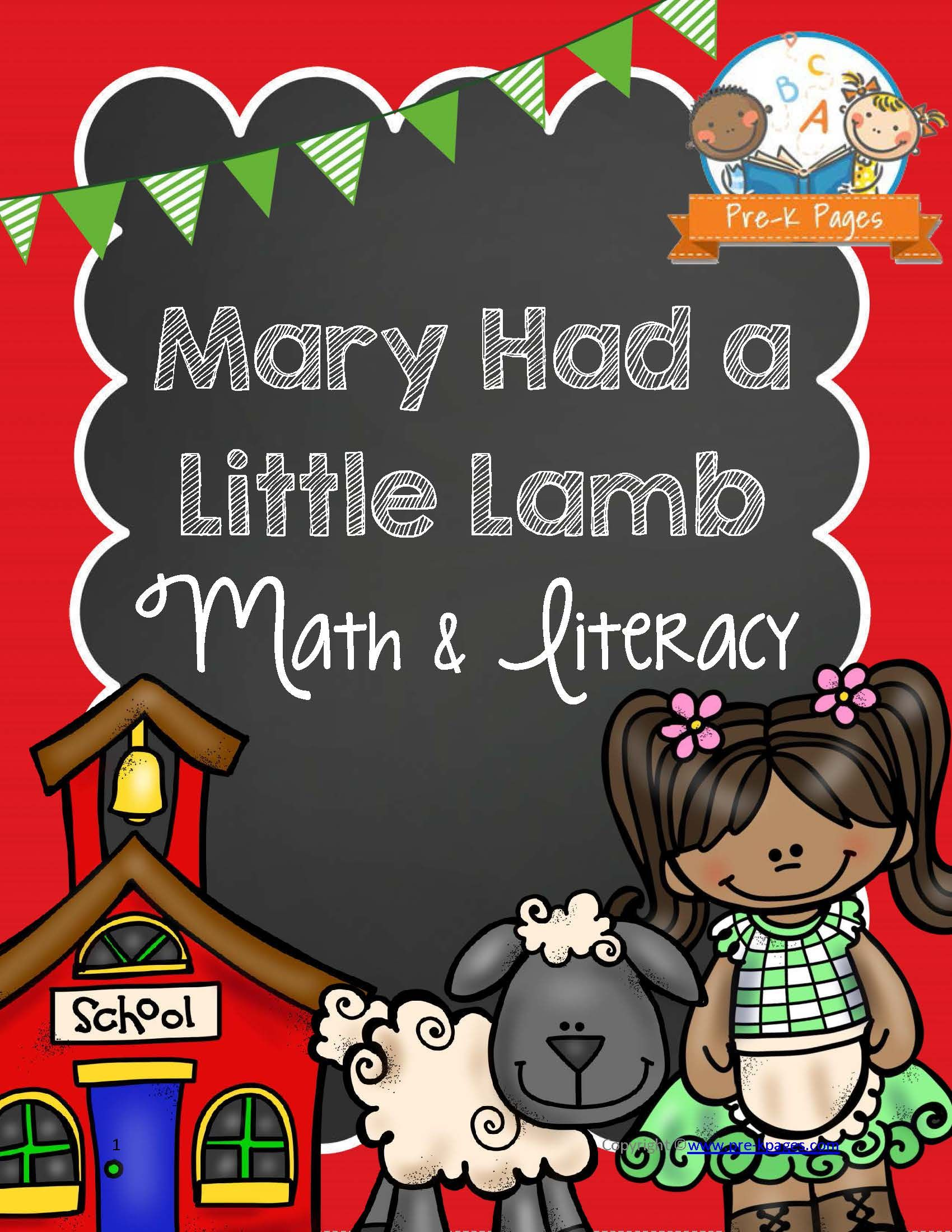 c07634b38dfb8 Printable Nursery Rhyme Mary Had a Little Lamb Math and Literacy Activities  for Preschool and Pre-K. Your kids will have fun learning Alphabet Letters,  ...
