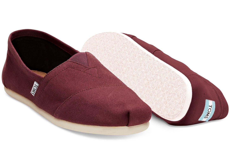 Red Mahogany Canvas Mens Classics Vegan ShoesLanvinTomsTom Shoes