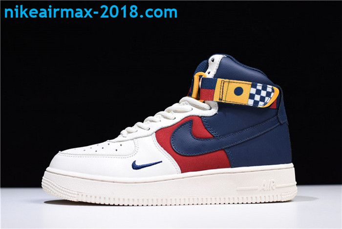 save off a2251 b2f2f 2018 Fashion Nike Air Force 1 High Tops Mens Shoes Navy Red White AR5395-100