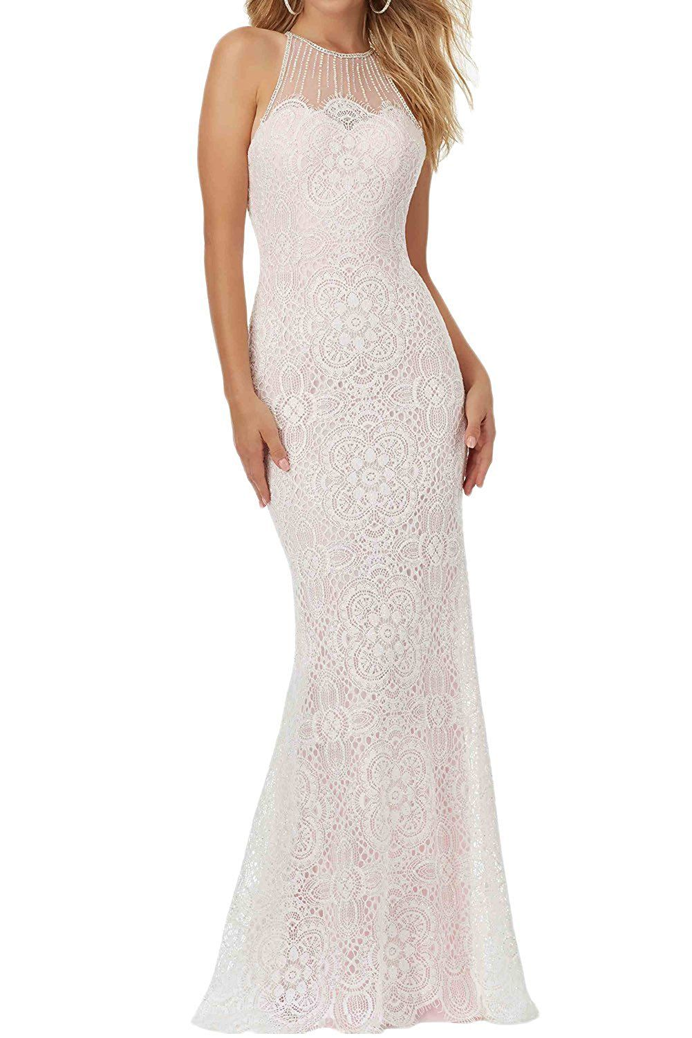 Limitless white lace halter mermaid dress for women prom evening