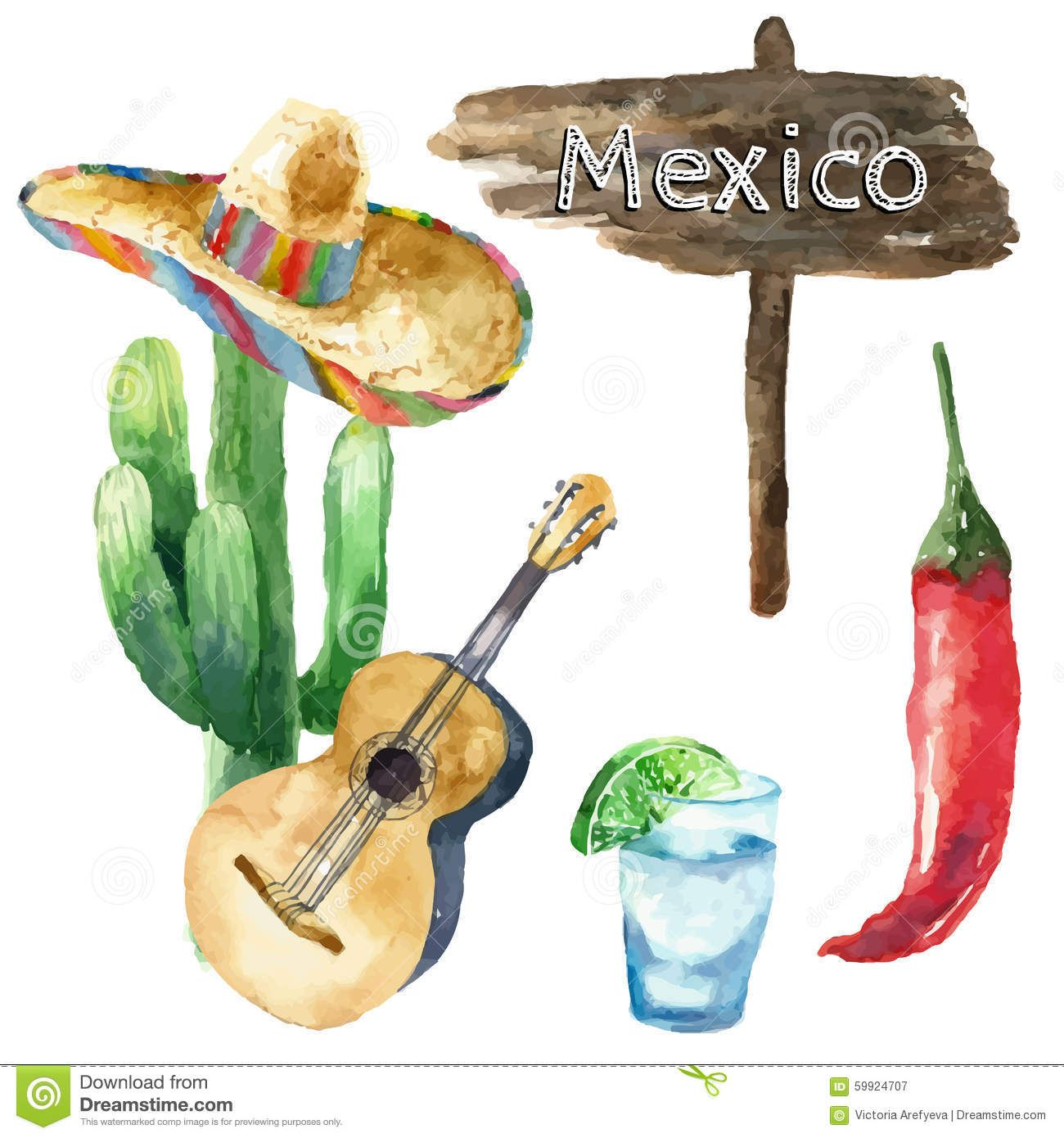 Watercolor Mexico Icons. - Download From Over 44 Million High Quality Stock Photos, Images, Vectors. Sign up for FREE today. Image: 59924707