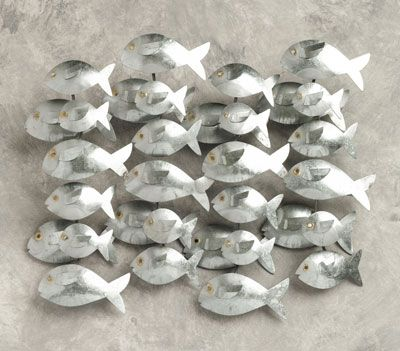 Casa UNO Metal Fish Hanging Silver Aluminium 32 X Fish Home Decor .
