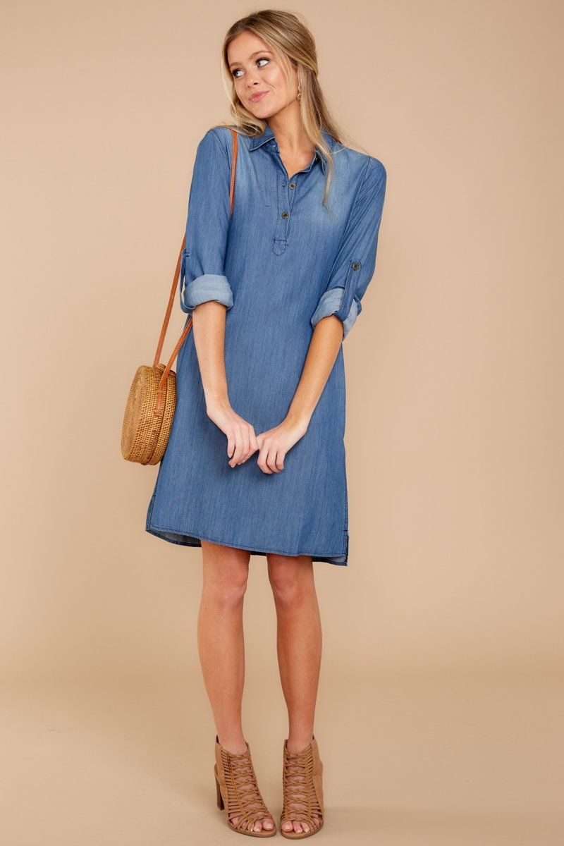 4887690d043 Chic Dark Denim Shirt Dress - Adorable Dress - Dress -  39.00 – Red Dress  Boutique
