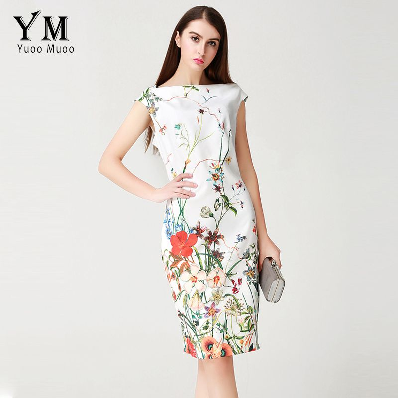 ccd8002f529 YuooMuoo 2017 Summer Dress Women Knee-length Elegant Office Dress European  Brand Design Fashion Floral Print Women Dress