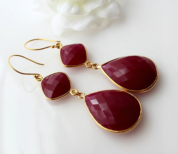 $115.00 Long Double Drop Ruby Earrings (dyed raw ruby), Red Ruby teardrop earrings, Red gemstone Dangle earrings, 22K Gold Vermeil on Etsy,