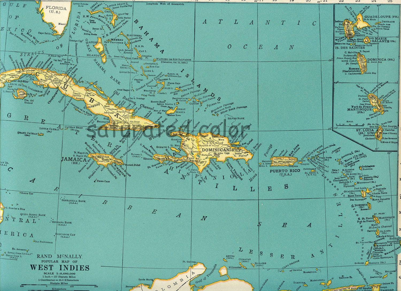 West Indies Caribbean Map Vintage
