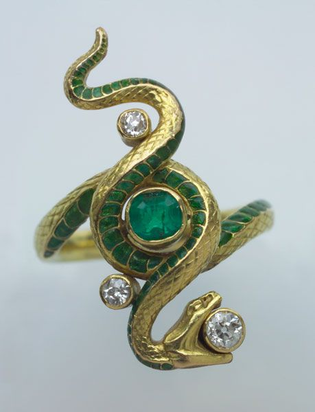 Paul Briancon - Art Nouveau Snake Ring Gold Enamel Emerald Diamond, French c 1900