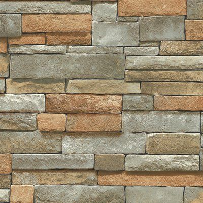 Blue mountain ledge stone brown peelable vinyl prepasted wallpaper